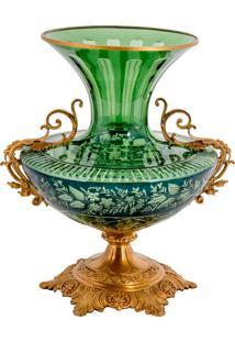 Vaso De Cristal E Bronze Iii - Linha Light Green