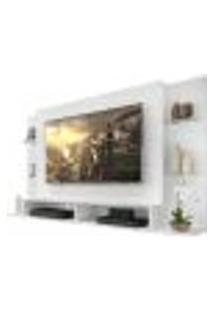 "Painel Tv 60"" C/ Suporte E Prateleiras De Vidro Nairóbi Multimóveis Branco"