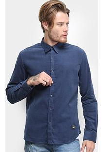 Camisa Manga Longa Ellus 2Nd Floor Corduroy Masculina - Masculino-Azul