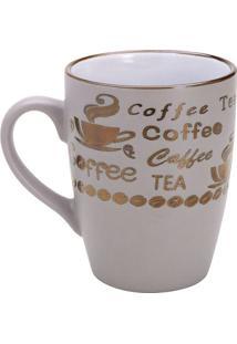 """Caneca Vintage Letters """"Coffee""""- Cinza Claro & Dourada"""