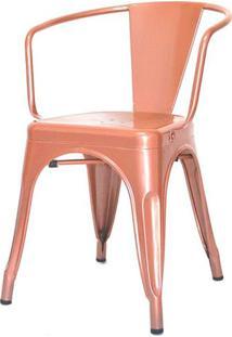 Cadeira Iron Tolix Com Braco Com Pintura Epoxi Cobre - 48289 - Sun House