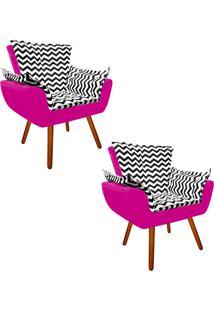 Kit 02 Poltrona Decorativa Opala Suede Compos㪠Estampado Zig Zag Preto D80 E Suede Pink - D'Rossi - Rosa - Dafiti