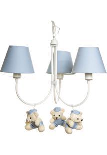 Lustre 3L Ariel Com 3 Ursinhos De Boné Bebê Infantil Potinho De Mel Azul - Kanui