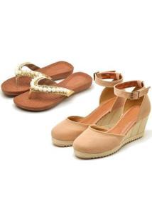 Kit Sandália Anabela + Chinelo Ousy Shoes Feminino - Feminino-Nude+Branco