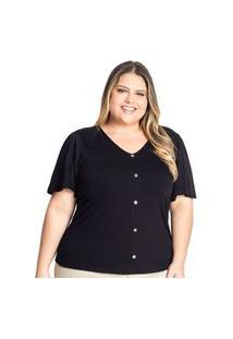 Blusa Feminina Plus Size Rovitex Com Botões Preto