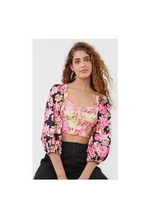 Blusa Cropped My Favorite Thing(S) Mangas Bufantes Floral Verde/Rosa