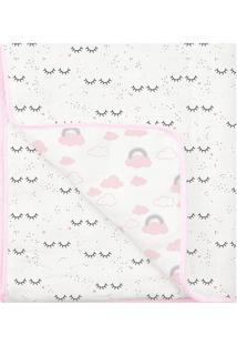 Edredom Soft Premium Dupla Face- Branco & Rosa- 90X1Papi