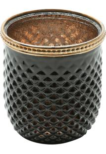 Cachepot De Vidro E Zamac Bristol Preto E Dourado 8,5X9Cm Lyor - Preto/Dourado - Dafiti