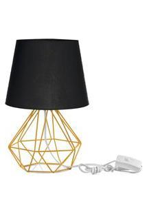 Abajur Diamante Dome Preto Com Aramado Amarelo