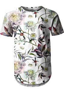 Camiseta Longline Over Fame Aquarela Floral