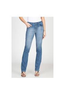Calça Jeans Tipo Moletom Bloom Reta Azul Médio