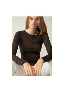 Blusa Modal Cashmere Ultralight Decote Canoa - Marrom M