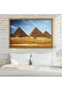 Quadro Love Decor Com Moldura Pirâmides De Gizé Dourado Grande