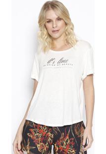 "Camiseta ""It'S Time"" Com Linho- Off White & Cinza Escurosommer"