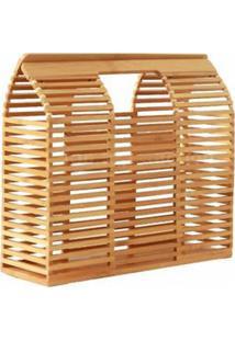 Bolsa De Madeira Varetas Bambu Quadrada Design Vazado Similar A Cult Gaia