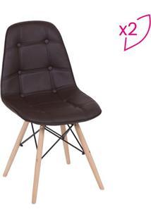 Jogo De Cadeiras Eames Botonãª- Cafã© & Bege- 2Pã§Sor Design