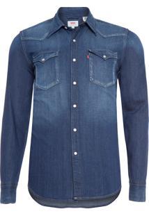Camisa Masculina Classic Western - Azul Marinho