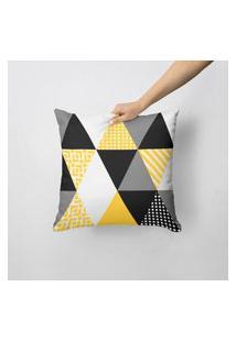 Capa De Almofada Avulsa Decorativa Triângulos Amarelos 45X45Cm