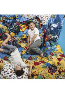 Edredom Dourados Enxovais Kids Fundo Do Mar Solteiro Dupla Face