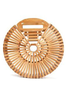 Bolsa De Bambu Isla Galerias Redonda Pequena Cor Natural