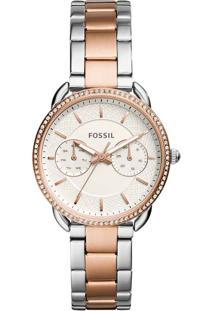 8b143efbf50 ... Relógio Feminino Fossil Analógico Com Cristais Swarovski Es4396 1Kn  Prata Dourado