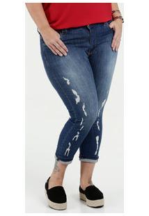 2f1d397c9a Calça Feminina Jeans Cigarrete Destroyed Plus Size Sawary