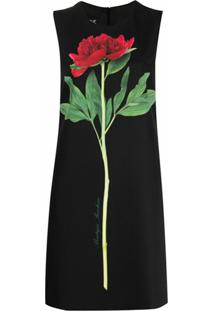 Boutique Moschino Vestido Reto Sem Mangas Com Estampa De Flores - Preto