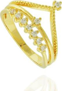 Anel Coroa Zircônias Semi Joia - Feminino-Dourado