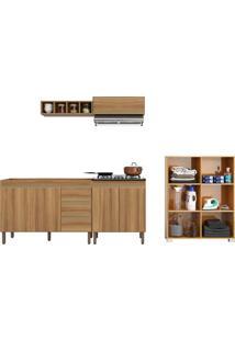 Cozinha Compacta Estilo Corredor C/ Armários, Nicho Adega E Multiuso P/ Lavanderia Peternella