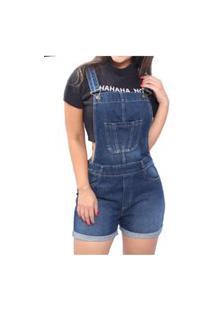 Macacão Jardineira Jeans Frozini Curta Com Regulagem Macaquinho Curto Escuro Stone Used