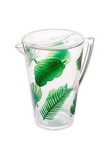 Jarra Bon Gourmet Acrílico Com Tampa Leaf Verde 2,9L Incolor/Verde