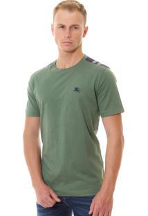 Camiseta Burberry Masculina London England Detail Tartan Verde Militar