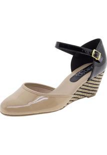 Sapato Feminino Anabela Bege/Preto Beira Rio - 4791204