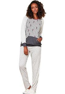 Pijama Longo Estampado Feminino Luna Cuore - Feminino-Cinza