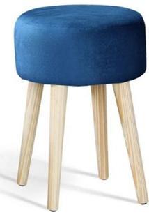 Puff Coin Azul Marinho Pes Palito Pinus 45Cm - 61347 - Sun House