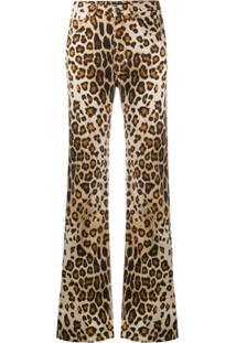 Etro Calça Jeans Flare Com Estampa De Leopardo - Marrom