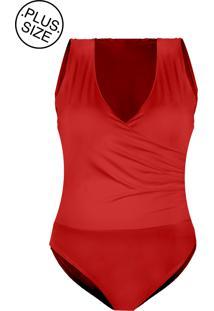 Body Outletdri Poliamida Plus Size Lycra Alça Grossa Sobreposto Faixa Vermelho