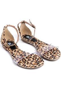 Sandália Mizzi Shoes Rasteira Animal Feminina - Feminino-Bege+Preto