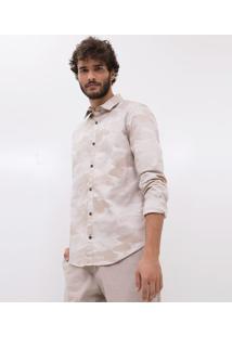 Camisa Slim Camuflada Em Sarja