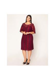 Vestido Almaria Plus Size Pianeta Vinho