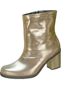 Bota Domidona Salto Grosso Ankle Boot Faixa Lateral Dourado