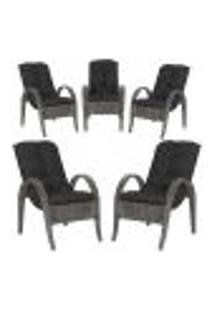 Cadeiras 5Un P/ Jardim Lazer Edicula Varanda Descanso Fibra E Tramas Napoli Plus Tabaco A37