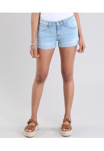 Short Jeans Feminino Reto Azul Claro
