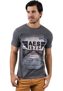 Camiseta Aes 1975 Dock Masculina - Masculino-Chumbo