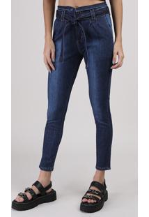 Calça Jeans Sawary Clochard Skinny Com Faixa E Bolsos Cintura Média Azul Escuro