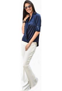 Camisa Manga Longa Banca Fashion Casual Chique Azul Marinho