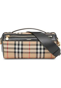 Burberry The Vintage Check And Leather Barrel Bag - Marrom