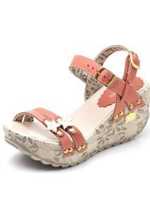 Sandalia Top Franca Shoes Betina Beker Plataforma Anabela Feminina - Feminino-Vermelho