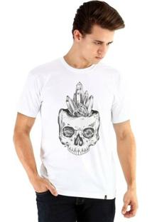 Camiseta Ouroboros Manga Curta Caveira Cristal - Masculino-Branco