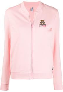 Moschino Cardigan Com Logo Bordado - Rosa